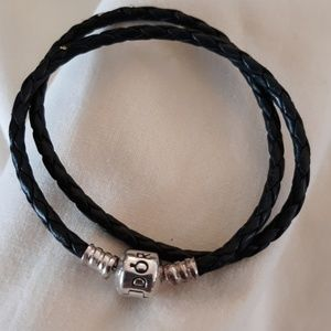 Pandora Black Leather Braided Bracelet